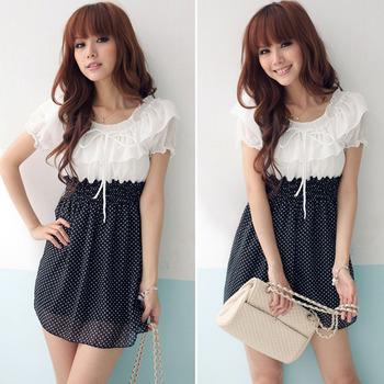 Fashion Women Summer Dress O-Neck Short Sleeve Ruffles Pleated Polka Dot Print Casual Chiffon Dresses Party Free Shipping 0282
