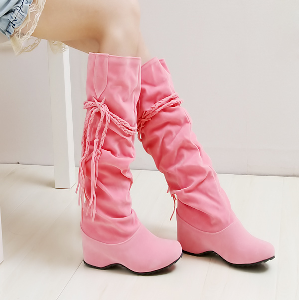 Free shipping 2013Winter Thicken wedged Tassel Snow warm winter Boots Shoes For Women Black Coffee yellow Beige Brown Pink color(China (Mainland))