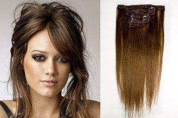 Free shipping High Quality 15inch 70g Long Flaxen  Straight Human Hair Clip Hair Extension