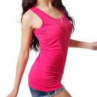 New Long Wild Pocket Zipper Vest  Colorful Lady Bottoming Shirt Cotton Vest Hotsale New