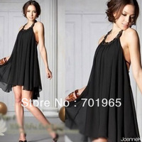 Holiday Sale New Korean Women's Summer Hot Sexy Halter Neckline Jewels Chiffon Round Collar Dress Hotsale  New