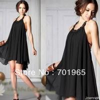 HotsaleHotPromotion Holiday Sale  Korean Women's Summer  Sexy Halter Neckline Jewels Chiffon Round Collar Dress