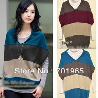 HotsaleHotPromotion   Women's  High-quality Lamb Wool Material Tri-color Stitching Design Bat Sleeve Sweater