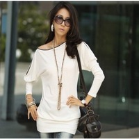 Fashion New Elegant Women Bat Sleeve Slim Zipper Collar Long-sleeved T-shirt Tops Hotsale New