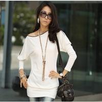 Fashion New Elegant Women Bat Sleeve Slim Zipper Collar Long-sleeved T-shirt Tops Hotsale New