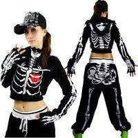 Ds lead dancer clothing costume hiphop hip-hop hiphop sweatshirt Women short jacket skull bones rack  ,Free Size