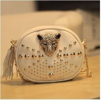 2013 Women's Handbag Fashion Punk Leopard Head Rivet Chain Bag One Shoulder Women's Handbag Free Shipping