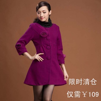 2013 spring and autumn women's woolen overcoat fashion three-dimensional flowers wrist-length sleeve slim sheep outerwear