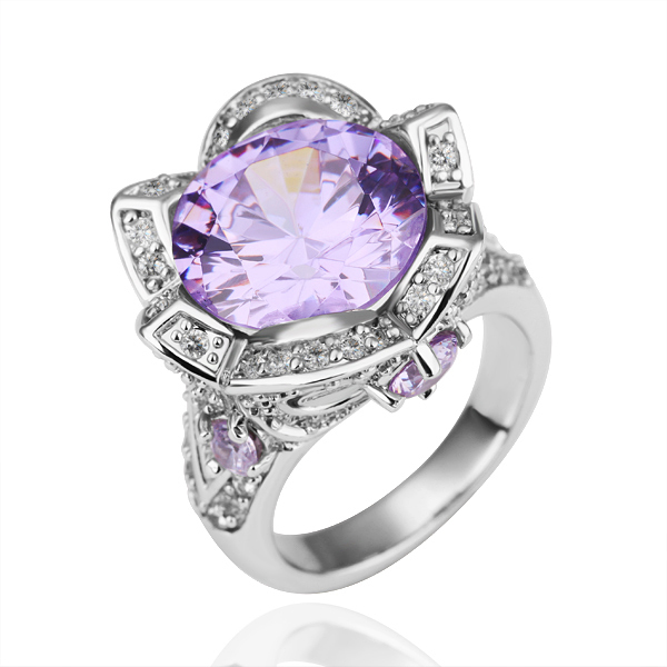 18KGP R038P Freeship,purple crystal crown ring,women's delicate jewelry,18k platinum,nickel free,Austrian SWA Element,4colors(China (Mainland))
