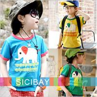 Fashion Kids' Cartoon T-shirt Boys Summer Cool Wear Elephant Design Children T Shirts Cheap Clothes,Free Shipping K0513
