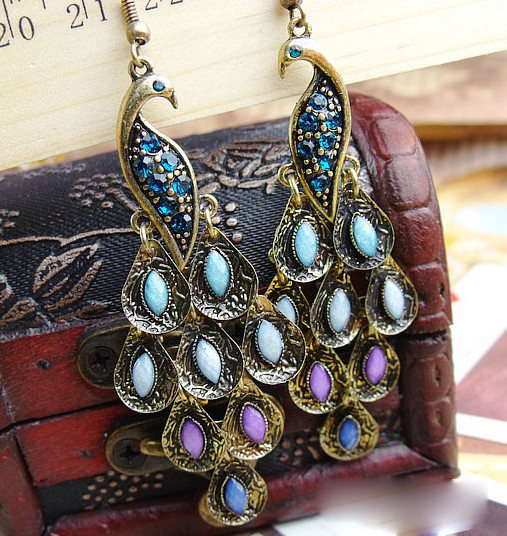 free shipping Retro jewelry new bright peacock earrings simulated diamond earring fashionable earring hot selling(China (Mainland))