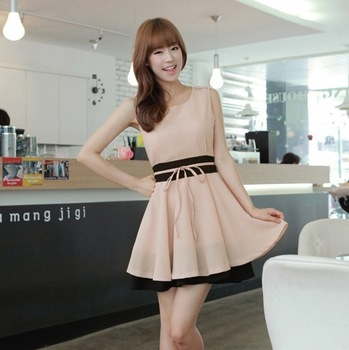 2013 summer juniors clothing pink small fresh star korean soaps chiffon slim one-piece dress