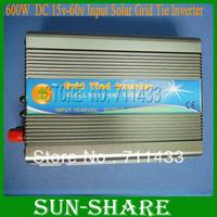 Free shpping !600W/230V or 110v output , DC 15V-60V input grid tied inverter,pure sine wave power ,simple installation