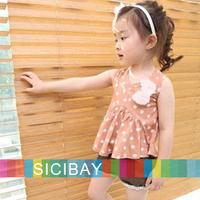 2014 Korea Style Kids Suits Little Girls Dot Tracksuits,Dot Vest + Hot Shorts,Free Shipping  K0511