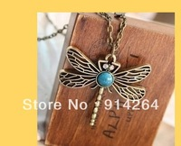 Wholesale 12pcs New Fashion Prom Charming Modern Retro Dragonfly Necklacs   free shipping