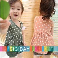 Free Shipping Summer Pretty Girl Suits Fresh Kids Wear,Dot Vest + Hot Shorts,5sets/lot  K0511