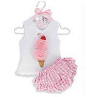 Free shipping 3 sets/lot baby girls lovely culottes suit, stereoscopic Ice cream flower sleeveless T-shirt+pink grid pantskirt