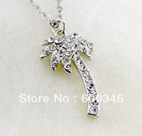 free shipping 5pcs lovely silver plating Crystal coconut tree  shape pendant necklaces