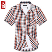 Promotion Spring and summer men's trendy plaid short-sleeve shirt slim casual shirt 100% cotton short-sleeve shirt