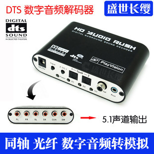 Ac-3 dts audio decoder fiber optic coaxial 5.1 6 stereo rca(China (Mainland))