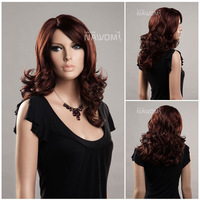 "free shipping 20"" 100% Kanekalon Fashion Medium Long Auburn Hair wigs for women W3621"