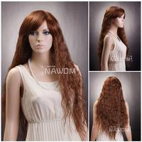 100% Kanekalon Fashion Auburn wigs Long Curly wigs for women Luxury Barbie wigs W3220