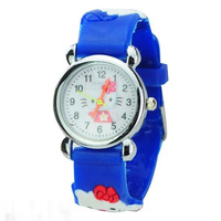 1pcs Free shipping New Hello kitty  3D Cartoon Children Boys Kids Quartz Watches Wrist Watches A078 (10 colors to choice)