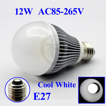 FREE SHIPPING  E27 12W 1300LM AC85V-265V COOL WHITE Bubble Ball LED Light Lamp Bulbs Lighting Energy Saving glass cover 1PC