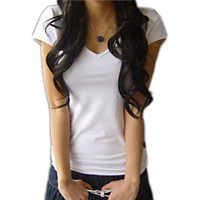 2014 summer plus size clothing short-sleeve T-shirt female V-neck slim shirt white cotton 100% basic shirt  the tops