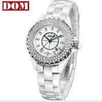 2013new white/black import pearl ceramic watches of women watch 200M waterproof HK DOM brand luxury calendar sapphire glass