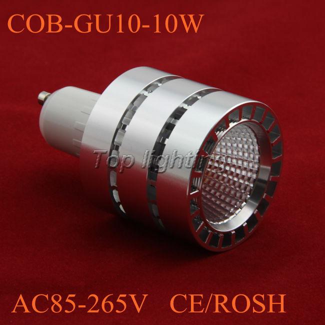 Free shipping 2013 NEW type 200pcs/lot Dimension 50x90mm AC85-265V High Power GU10 10W COB led spot light-COB-002(China (Mainland))