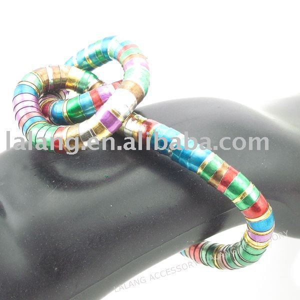 3x Charm Colourful Flexible Snake Chain Bracelet 38cm 160018(China (Mainland))