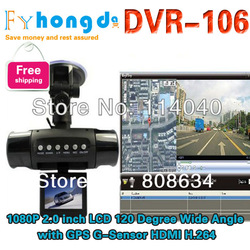 Original DVR-106 Car DVR Recorder Camera 1080P 2.0 inch LCD 120 Degree Wide Angle with GPS G-Sensor HDMI H.264+Freeshipping(China (Mainland))