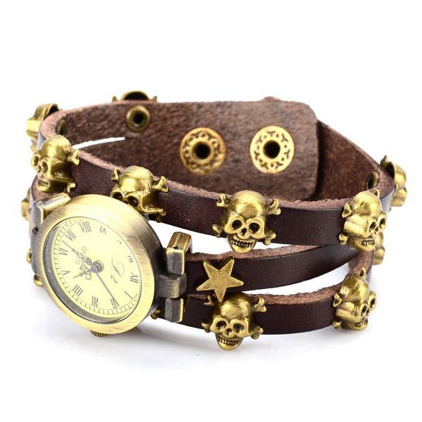 Free Shipping Lady Girls Casual Alloy Genuine leather Wrist Watch Analog Unisex quartz Watch human skeleton 1pcs free shipping(China (Mainland))