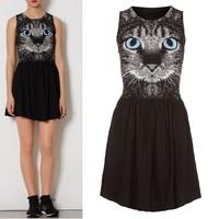 2013 Summer Wild Cat Face Round-neck Sleeveless Slim Dress Black