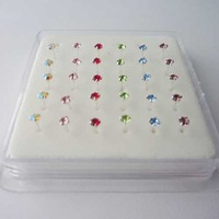 free shipping 925 sterling silver nose ring 1.5mm clear and color cz high quality nose studs