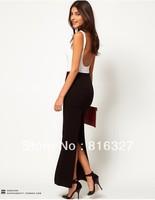 6 colors Fashion modal full skirt vintage bohemian long slit dress high waist maxi  length 90cm free shipping