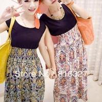 2013 spring and summer fashion women's full dress decorative pattern women high waisted long skirts sleeveless one-piece dress