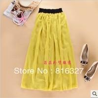 2 colors Fashion Chiffon full skirt vintage bohemian long skirts high waist maxi skirts length 90cm width 140cm free shipping