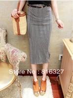 Europe vintage high waist black and white vertical stripe fashion slim  long summer dress 2013