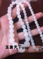 FREEN SHIPPING! 2012 women's natural xinjiang white jade beads necklace
