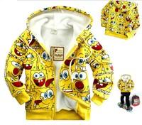 Retail 1pcs New autumn winter SpongeBob velvet Boy outerwear  Coat  jacket Children sweater cartoon Hoodies Sponge Sweatshirts