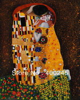 High Quality, Gustav Klimt painting,Portrait painting, Canvas art painting,The Kiss (Full View) ,Hand-painted,Free shipping