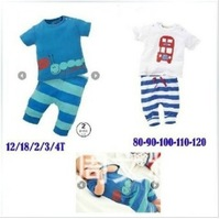 Wholesale cartoon t-shirt + pants boys clothing suit children's summer clothing sets free shipping