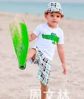 Casual cartoon t-shirt +shorts+hairbands children's clothing sets boy's cartoon clothes hot sale