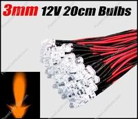 50pcs 3mm  Orange/Amber Pre Wired Water clear led 12V 20cm Bulbs Light Lamp