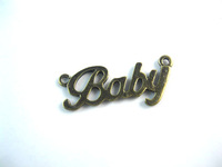 Fashion Letters baby Alloy Pendants Vintage Bronze 3 Loops Charm Fit Jewelry Handcraft Making a340