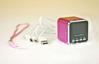 Wholesale 20pcs/lot DHL shipping A08 USB MP3 Music Player FM Radio Stereo Player Speaker blue pink silver in stock