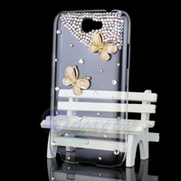 Free Shipping Hot Sale New Fashion Cute Luxury Gold Butterfly Bling Ctystal Hard Case Cover For Samsung Galaxy Note 2 II N7100