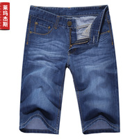 2014 Real Rushed Freeshipping Mid Cotton Light Shipping!summer Thin Men's Clothing Casual Denim Trousers Male Straight Shorts